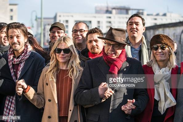 Festival director Dieter Kosslick USBritish actress Sienna Miller Mexican director Diego Luna and other jury members and delegates at the 67th...