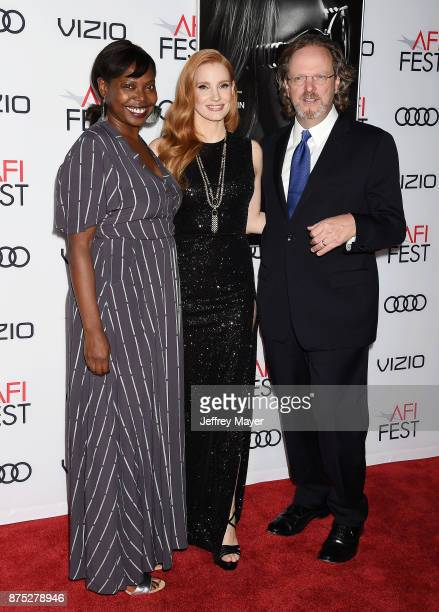 Festival Director for AFI FEST Jacqueline Lyanga actress Jessica Chastain and director/screenwriter Aaron Sorkin attend AFI FEST 2017 Closing Night...