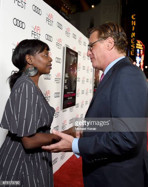 Festival Director for AFI FEST Jacqueline Lyanga and Aaron Sorkin attend the screening of 'Molly's Game' at the Closing Night Gala at AFI FEST 2017...