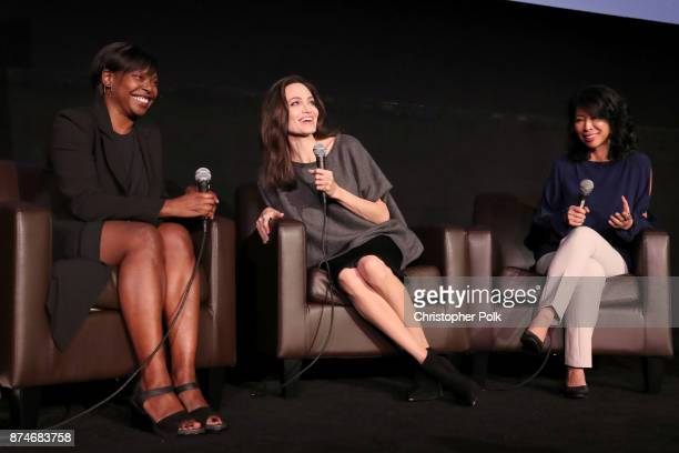 Festival Director for AFI FEST Jacqueline Lyanga Angelina Jolie and Loung Ung speak onstage during 'On Collaborative Storytelling Angelina Jolie And...