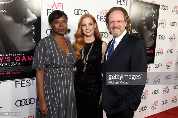 Festival Director for AFI FEST Jacqueline Lyanga Jessica Chastain and CEO of AFI Bob Gazzale attend the screening of 'Molly's Game' at the Closing...