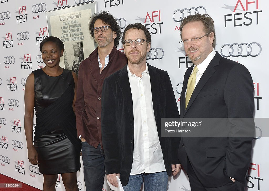 AFI Festival Director Jacqueline Lyanga, writer/director Joel Coen, writer/director Ethan Coen and AFI President and CEO Bob Gazzale attend the AFI FEST 2013 presented by Audi closing night gala screening of 'Inside Llewyn Davis' at TCL Chinese Theatre on November 14, 2013 in Hollywood, California.