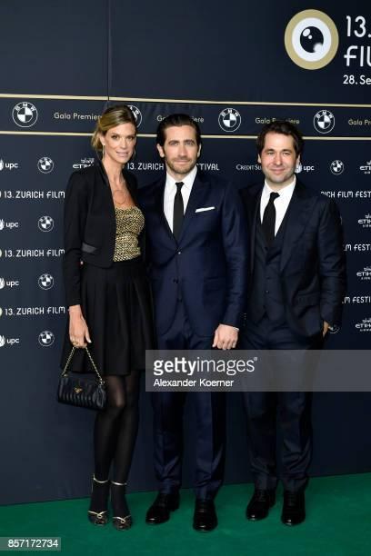 Festival director Nadja Schildknecht Jake Gyllenhaal and Festival director Karl Spoerri attend the 'Stronger' premiere at the 13th Zurich Film...