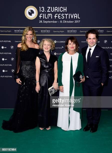 Festival director Nadja Schildknecht Mayor of Zurich Corine Mauch Swiss Federal President Doris Leuthard and Festival director Karl Spoerri attend...