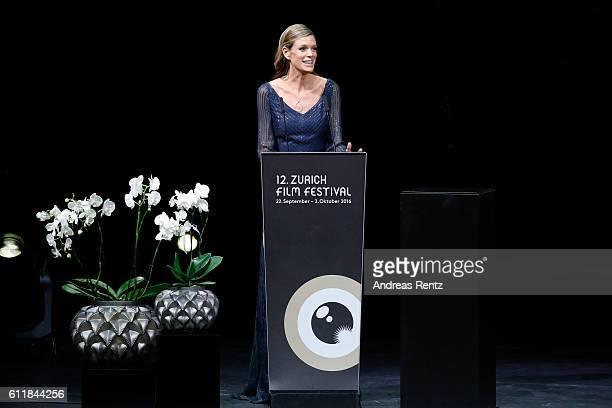 Festival director Nadja Schildknecht speaks on stage during the Award Night Ceremony during the 12th Zurich Film Festival on October 1 2016 in Zurich...