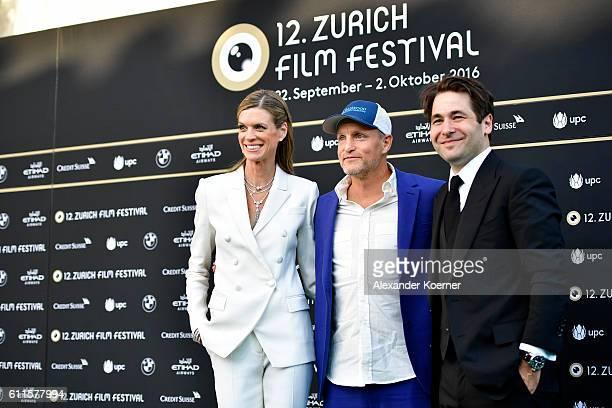 Festival director Nadja Schildknecht Woody Harrelson and Festival director Karl Spoerri attend the 'LBJ' premiere during the 12th Zurich Film...