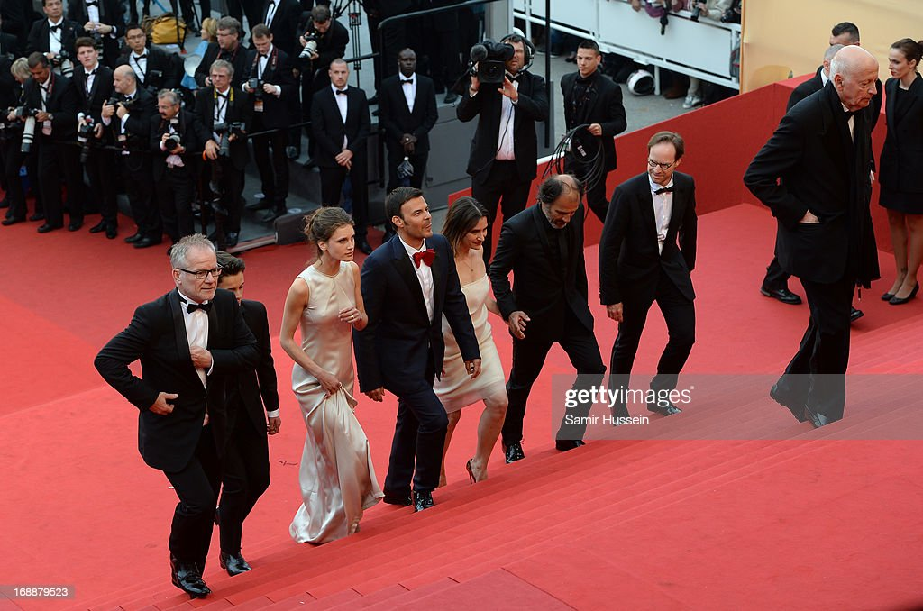 Festival director Thierry Fremaux, actors <a gi-track='captionPersonalityLinkClicked' href=/galleries/search?phrase=Frederic+Pierrot&family=editorial&specificpeople=5426893 ng-click='$event.stopPropagation()'>Frederic Pierrot</a>, <a gi-track='captionPersonalityLinkClicked' href=/galleries/search?phrase=Geraldine+Pailhas&family=editorial&specificpeople=2444310 ng-click='$event.stopPropagation()'>Geraldine Pailhas</a>, director <a gi-track='captionPersonalityLinkClicked' href=/galleries/search?phrase=Francois+Ozon&family=editorial&specificpeople=615693 ng-click='$event.stopPropagation()'>Francois Ozon</a>, actors <a gi-track='captionPersonalityLinkClicked' href=/galleries/search?phrase=Marine+Vacth&family=editorial&specificpeople=7496911 ng-click='$event.stopPropagation()'>Marine Vacth</a>, Fantin Ravat and Chairman of the Cannes Film Festival <a gi-track='captionPersonalityLinkClicked' href=/galleries/search?phrase=Gilles+Jacob&family=editorial&specificpeople=212799 ng-click='$event.stopPropagation()'>Gilles Jacob</a> attend the 'Jeune & Jolie' premiere during The 66th Annual Cannes Film Festival at the Palais des Festivals on May 16, 2013 in Cannes, France.