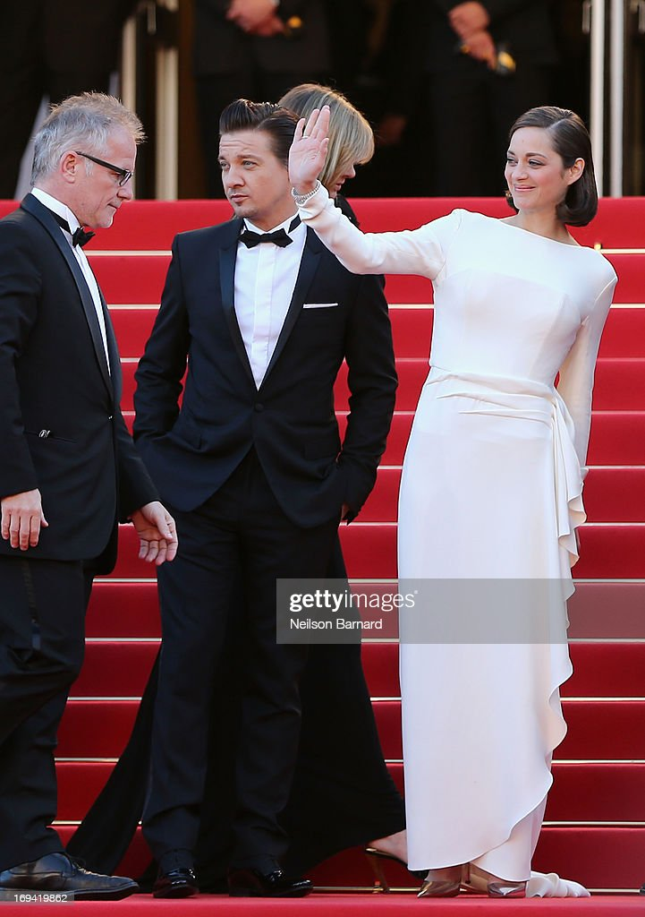 Festival director Thierry Fremaux (L), actress Marion Cotillard and actor Jeremy Renner attend 'The Immigrant' Premiere during the 66th Annual Cannes Film Festival at Grand Theatre Lumiere on May 24, 2013 in Cannes, France.