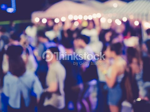 Festival Event Party outdoor with Blurred People : Stock Photo