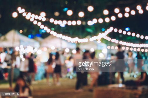 Festival Event Party with Hipster People Blurred Background : Foto de stock