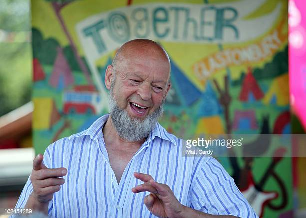 Festival founder Michael Eavis delivers his traditional Sunday morning press conference at the 2010 40th Glastonbury Festival at Worthy Farm Pilton...
