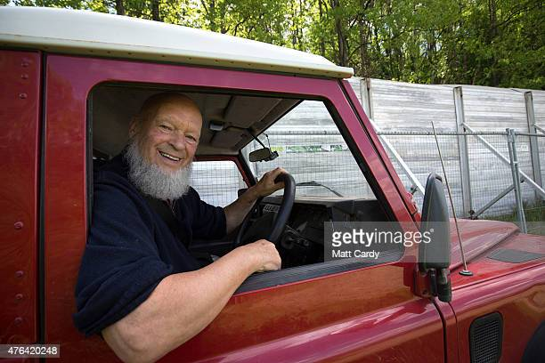 Festival founder Michael Eavis drives his Land Rover at the Festival site at Worthy Farm as the farm prepares for this year's Glastonbury Festival in...