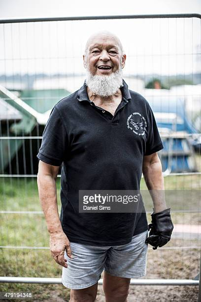 Festival founder Michael Eavis standing in front of the camping area at the Glastonbury Festival at Worthy Farm Pilton on June 28 2015 in Glastonbury...