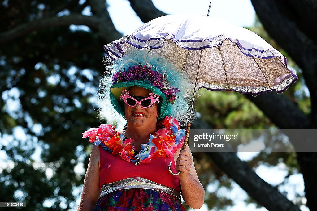 A festival goer arrives at the Big Gay Out at Coyle Park on February 10, 2013 in Auckland, New Zealand. Big Gay Out is the largest annual gay and lesbian festival in New Zealand.
