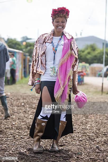 Festival goer at the Glastonbury Festival at Worthy Farm Pilton on June 27 2015 in Glastonbury England