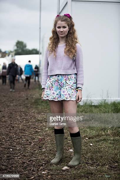 Festival goer at the Glastonbury Festival at Worthy Farm Pilton on June 28 2015 in Glastonbury England