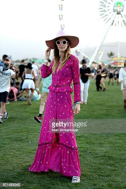 Festival goer attends day 1 of the 2016 Coachella Valley Music Arts Festival at the Empire Polo Club on April 15 2016 in Indio California