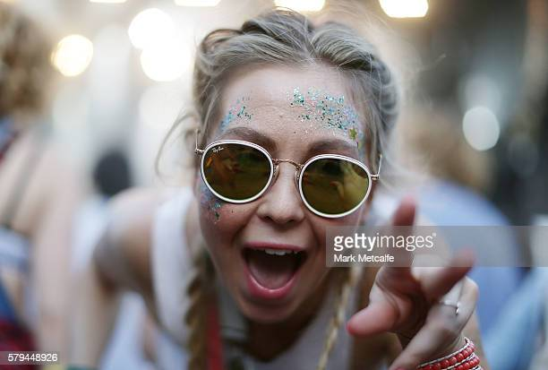A festival goer dances as City Calm Down perform during Splendour in the Grass 2016 on July 24 2016 in Byron Bay Australia