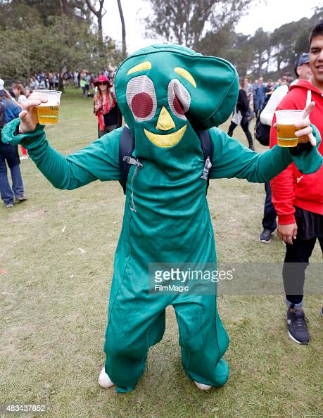 A festival goer dressed as the character Gumby poses during day 2 of the 2015 Outside Lands Music And Arts Festival at Golden Gate Park on August 8...