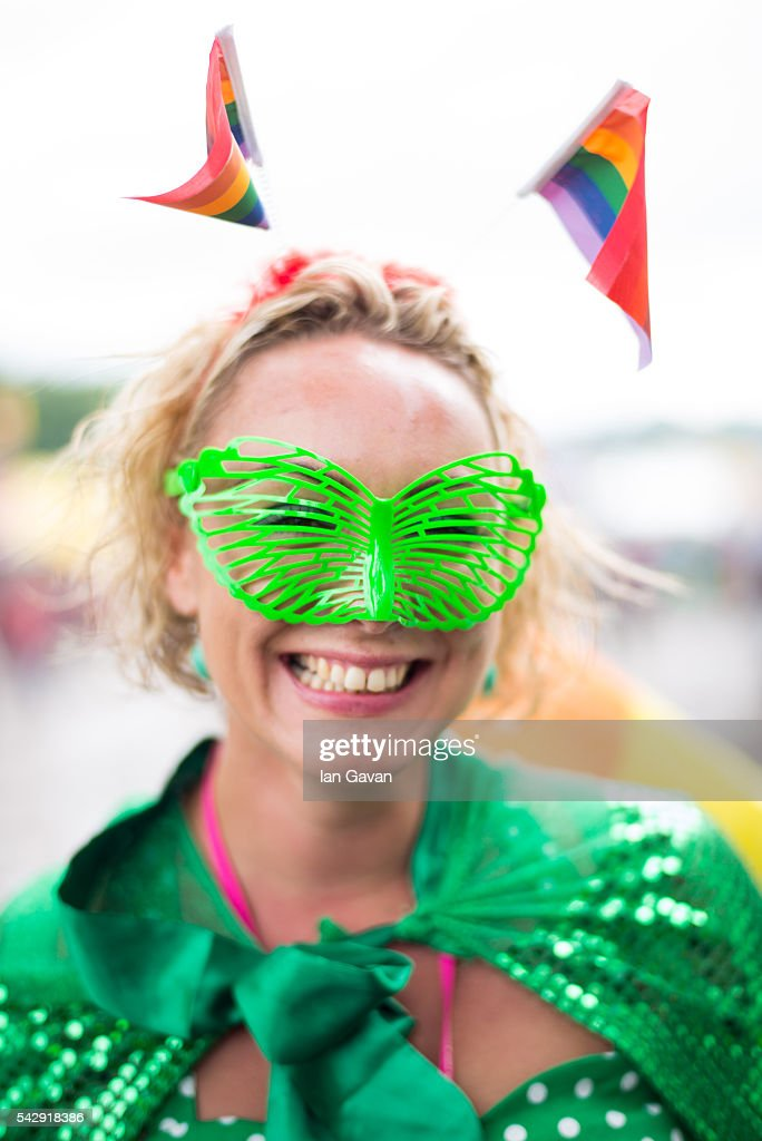 A festival goer enjoys the atmosphere on day 2 of the Glastonbury Festival at Worthy Farm, Pilton on June 25, 2016 in Glastonbury, England. Now in its 46th year the festival is one largest music festivals in the world and this year features headline acts Muse, Adele and Coldplay. The Festival, which Michael Eavis started in 1970 when several hundred hippies paid just £1, now attracts more than 175,000 people.