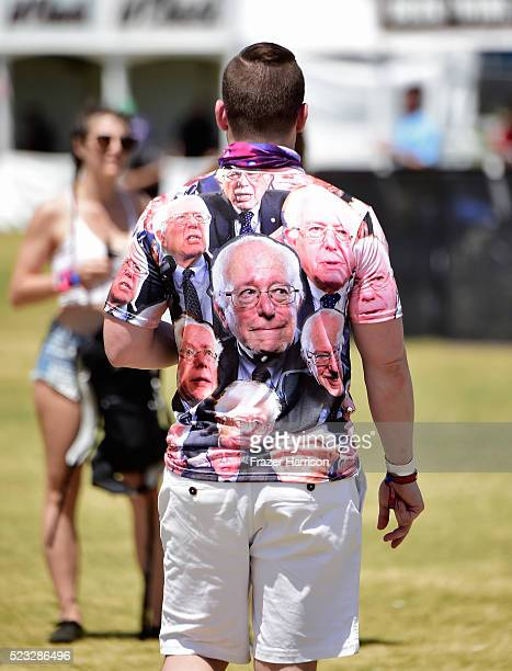 A festival goer wears a Bernie Sanders shirt during day 1 of the 2016 Coachella Valley Music Arts Festival Weekend 2 at the Empire Polo Club on April...