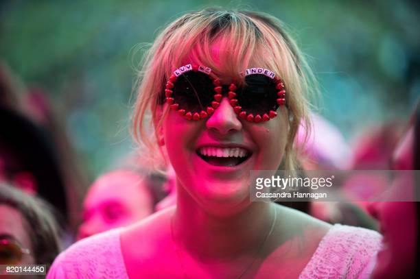 Festival goer wears novelty glasses during Splendour in the Grass 2017 on July 21 2017 in Byron Bay Australia