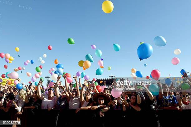 Festival goers are seen during Matt and Kim on day 3 of the 2016 Coachella Valley Music And Arts Festival Weekend 1 at the Empire Polo Club on April...