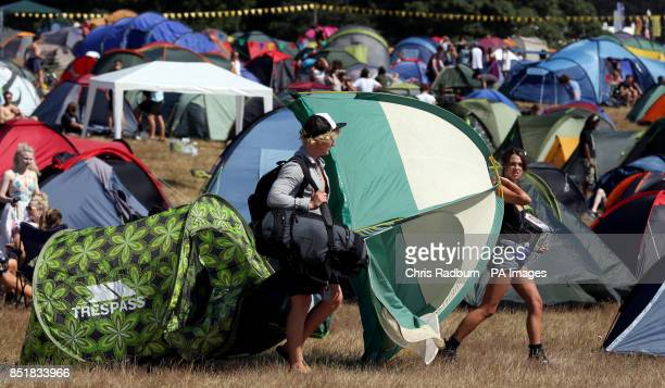 Festival goers arrive on site for the start of the Latitude Festival at Henham Park in Southwold Suffolk