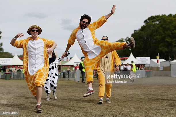 Festival goers arrive onsite at Splendour In the Grass 2014 on July 26 2014 in Byron Bay Australia