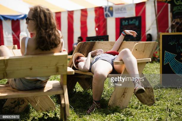 Festival goers at Glastonbury Festival Site on June 21 2017 in Glastonbury England