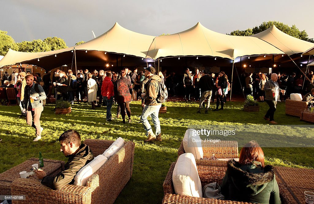Festival goers at the Barclaycard Presents British Summer Time Festival in Hyde Park on July 1, 2016 in London, England.