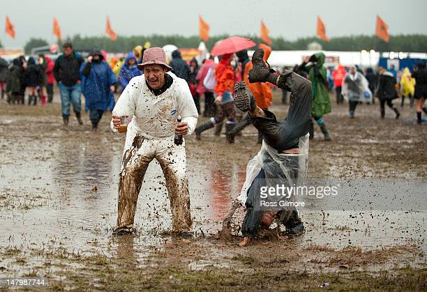 Festival goers brave the weather at day two of T In The Park Festival at Balado on July 7 2012 in Kinross United Kingdom