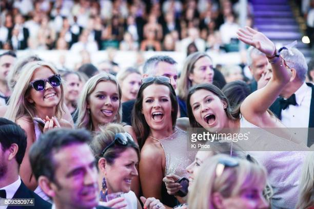 Festival goers dance as Jess Glynne performs at the Henley Festival on July 5 2017 in HenleyonThames England