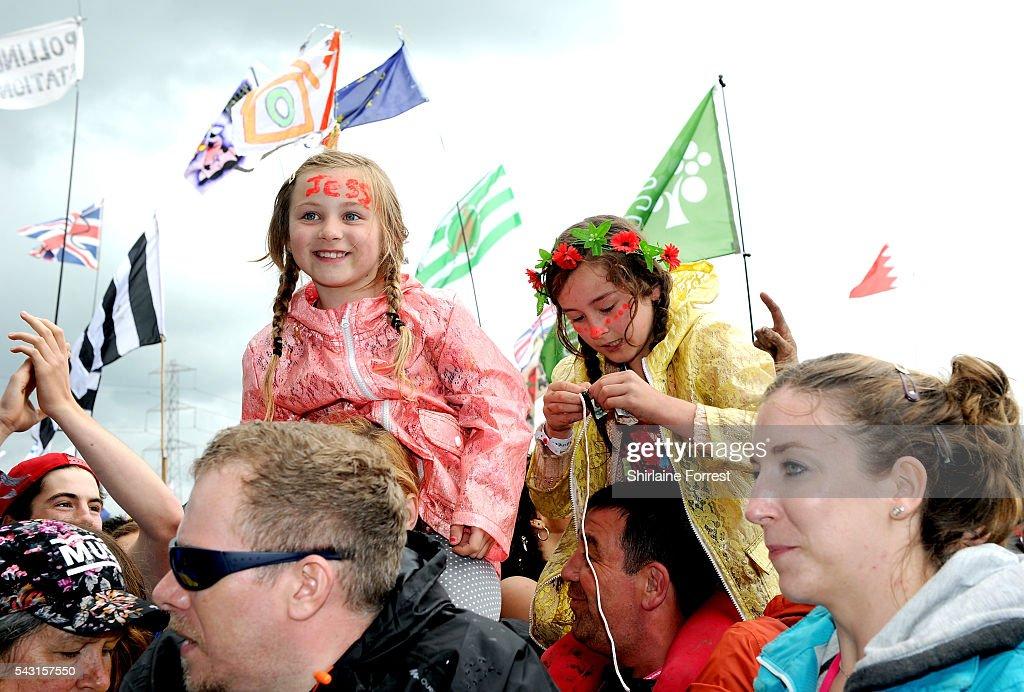 Festival goers enjoy Glastonbury Festival 2016 at Worthy Farm, Pilton on June 25, 2016 in Glastonbury, England.