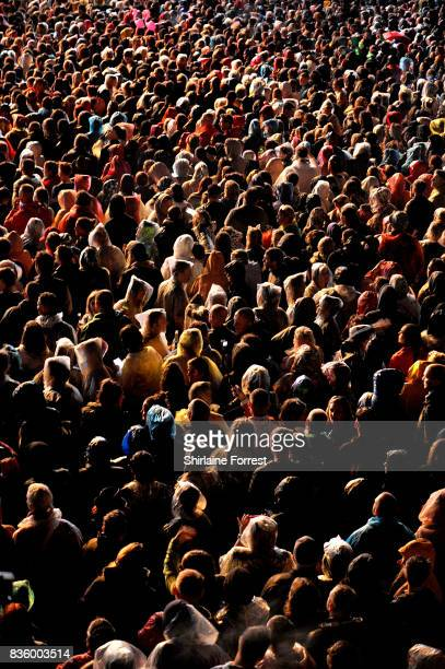 Festival goers enjoy Pnk performing live on stage during V Festival 2017 at Weston Park on August 20 2017 in Stafford England