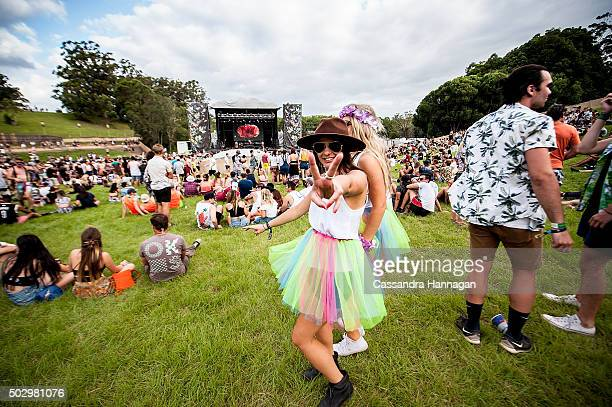 Festival goers enjoy the musical performances at Falls Festival on December 31 2015 in Byron Bay Australia