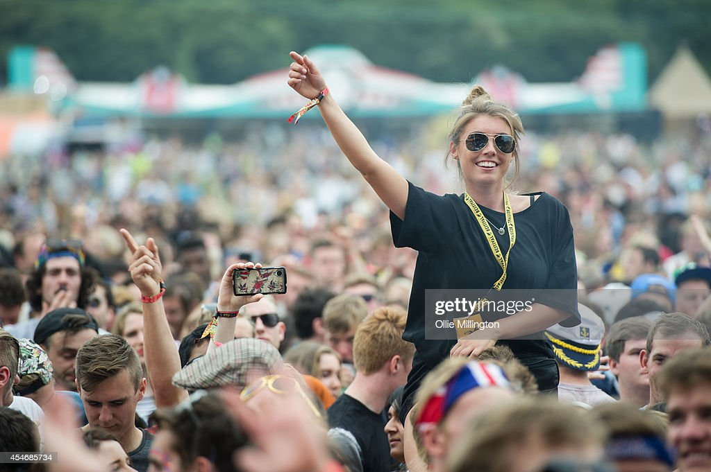 Festival goers enjoying the atmosphere as Lethal Bizzle performs as the secret guest on Day 2 of Bestival at Robin Hill Country Park on September 5...