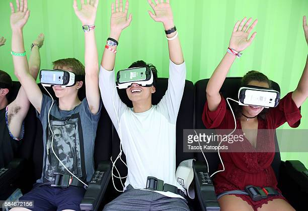 Festival goers experience Samsung Gear VR at Samsung VRPalooza at Lollapalooza 2016 Day 2 at Grant Park on July 29 2016 in Chicago Illinois