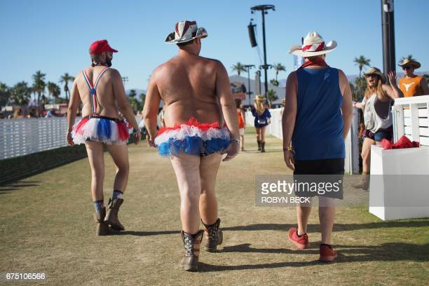 Festival goers in red white and blue tutus attend the 2017 Stagecoach Country Music Festival at the Empire Polo Club on April 29 2017 in Indio...