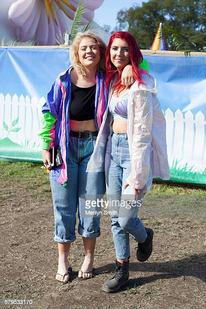 Festival goers pose during Splendour in the Grass 2016 on July 22 2016 in Byron Bay Australia