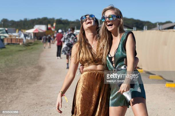 Festival goers pose during Splendour in the Grass 2017 on July 21 2017 in Byron Bay Australia