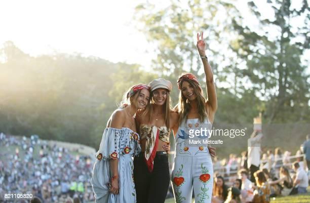 Festival goers pose during Splendour in the Grass 2017 on July 23 2017 in Byron Bay Australia