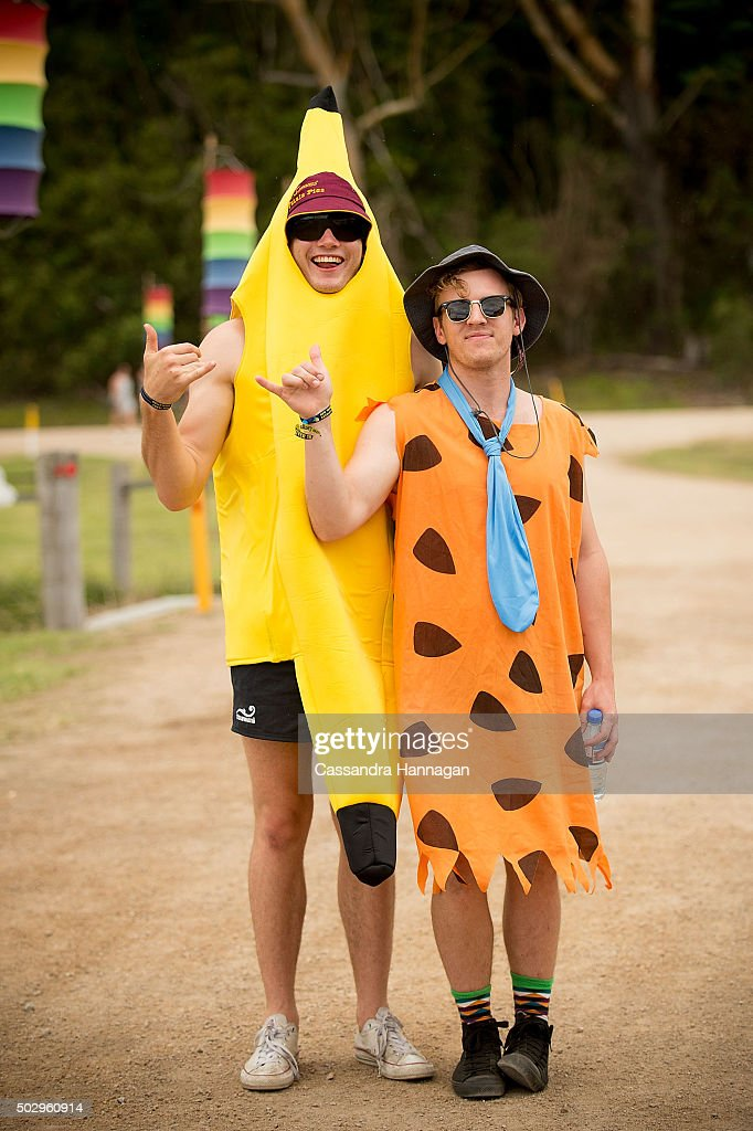 Festival goers prepare to celebrate New Year's Eve at Falls Festival on December 31 2015 in Byron Bay Australia