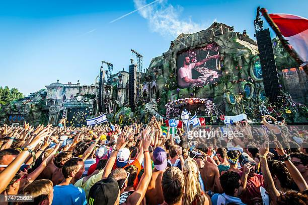 Festival goers react during a concert at the third day of the ninth edition of the Tomorrowland music festival on July 28 2013 in Boom AFP PHOTO /...