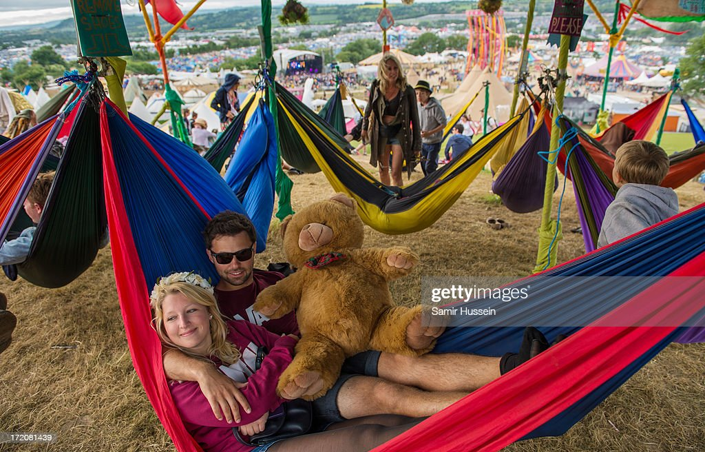 Festival goers relax at the Glastonbury Festival of Contemporary Performing Arts at Worthy Farm, Pilton on June 30, 2013 in Glastonbury, England.