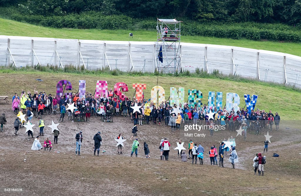Festival goers take part in a EU protest at the Glastonbury Festival 2016 at Worthy Farm, Pilton on June 25, 2016 near Glastonbury, England. The Festival, which Michael Eavis started in 1970 when several hundred hippies paid just £1, now attracts more than 175,000 people.