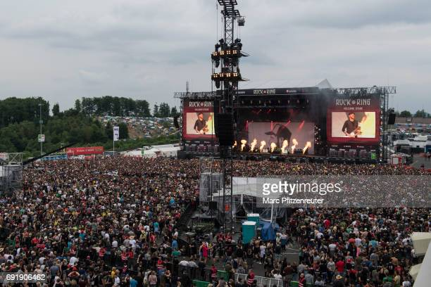Festival guests in front of the Volcano Stage during the second day of 'Rock am Ring' on June 3 2017 in Nuerburg Germany