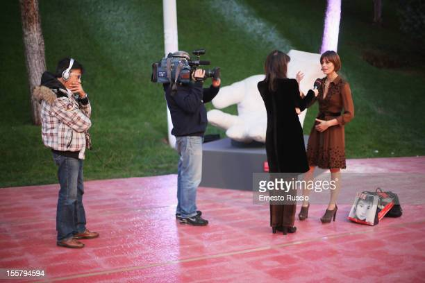 Festival Hostess Claudia Pandolfi is interviewed ahead of the 7th Rome Film Festival at the Auditorium Parco Della Musica on November 8 2012 in Rome...