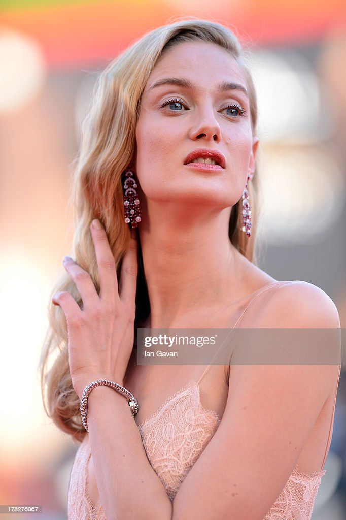Festival hostess <a gi-track='captionPersonalityLinkClicked' href=/galleries/search?phrase=Eva+Riccobono&family=editorial&specificpeople=885062 ng-click='$event.stopPropagation()'>Eva Riccobono</a> wears a Jaeger-LeCoultre Vintage Couvercle watch during the Opening Ceremony and 'Gravity' Premiere during the 70th Venice Film Festival at the Palazzo del Cinema on August 28, 2013 in Venice, Italy.