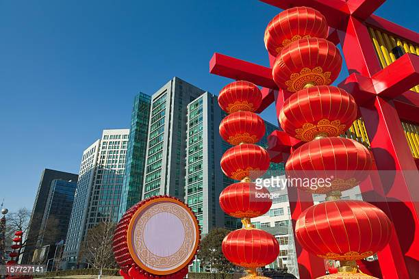 Festival lantern in the modern urban background